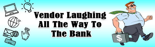 Vendor Laughing to Bank